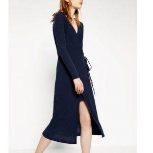 Zara Navy Wrap Midi Dress